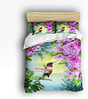 Prime Leader 4 Pcs Bedding Set Hummingbird and The Flowers Duvet Cover Set Ultra Soft and Easy Care Sheet Quilt Sets with Decorative Pillow Covers for Children Kids Adults Queen Size