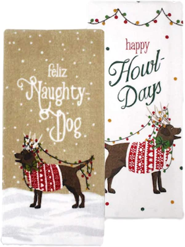 St Nicholas Square Naughty Dog Christmas Kitchen Towel 2 Pack