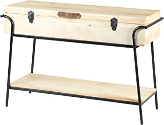 TUP The Urban Port , Brown and Black Handmade Wood and Metal Box Console Table with Removable Storage