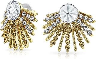 Geometric Milgrain Beaded Round White Crystal Fashion Art Deco Style Fan Stud Earrings For Women 14K Gold Plated Alloy
