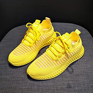 Breathable Sneakers Female Flying Woven Running Casual Shoes Female 2019 Summer New Korean Version of The Wild Student Net Shoes (Color : Yellow, Size : 39)