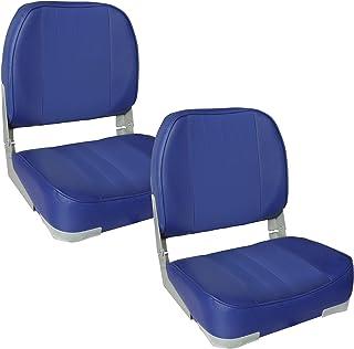 [pro.tec] 2x asientos de barco (azul) set ahorro - de piel sintética resistente al agua / silla de cabina / tapizado / silla de pesca / resistente a rayos UVA