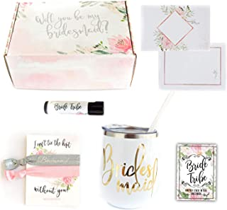 Bridesmaid Proposal Wedding Gift Box Party Favors with Wine Tumbler Hair Ties (White Tumbler)