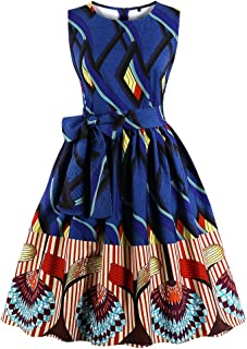 4fa193b98ace Wellwits Women's Waist Tie Stripes Ethnic African Print Vintage Swing Dress
