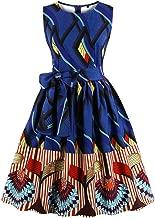 Wellwits Women's Waist Tie Stripes Ethnic African Print Vintage Swing Dress