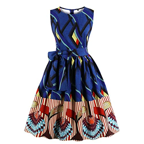 35a5dee970669 Wellwits Women s Waist Tie Stripes Ethnic African Print Vintage Swing Dress
