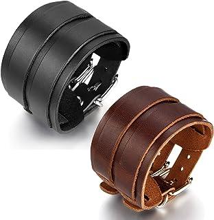 JewelryWe Gioielli Bracciale da Uomo Donna Pelle Braccialetto con Fibbia di Fissaggio Nero(con Regalo Borsa)