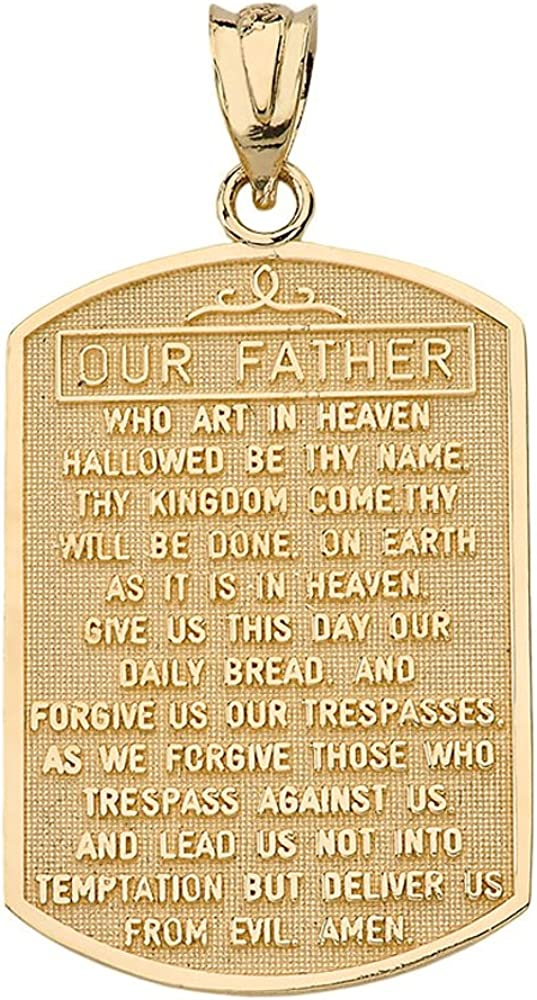 Solid 14k Yellow Gold Lord's Prayer