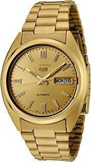 Men's SNXS80K Seiko 5 Automatic Gold Dial Gold-Tone Stainless Steel Watch