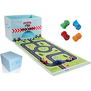 Caja plegable para guardar juguetes con pista de carreras y 6 x ...