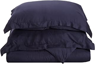 100% Premium Combed Cotton, 300 Thread Count 2 Piece Soft and Smooth Duvet Cover Set, Twin, Solid Navy Blue