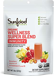 Sunfood Superfoods Wellness Super Blend- Immunity Drink Powder. Organic, Plant-Based Blend of Superfoods & Mushrooms. Mix ...