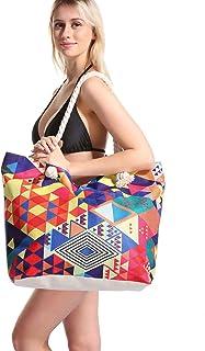 Bolsa de Playa Lona Grande XXL Mujer, Totalizador con Asas de Verano, Bolso Tela de Mano Familiar con Bolsillos, Bolsa de ...