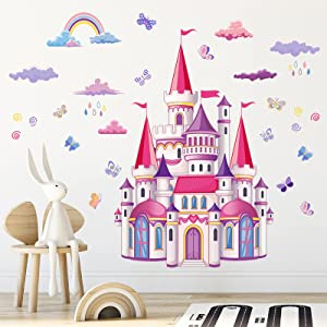 COKOYY Colorful Castle Wall Stickers, Rainbow Cloud Butterfly Wall Decals, Castles in The Rain Wall Décor, Removable DIY Wall Mural for Girls Bedroom, Nursery, Living Room, Home Decoration