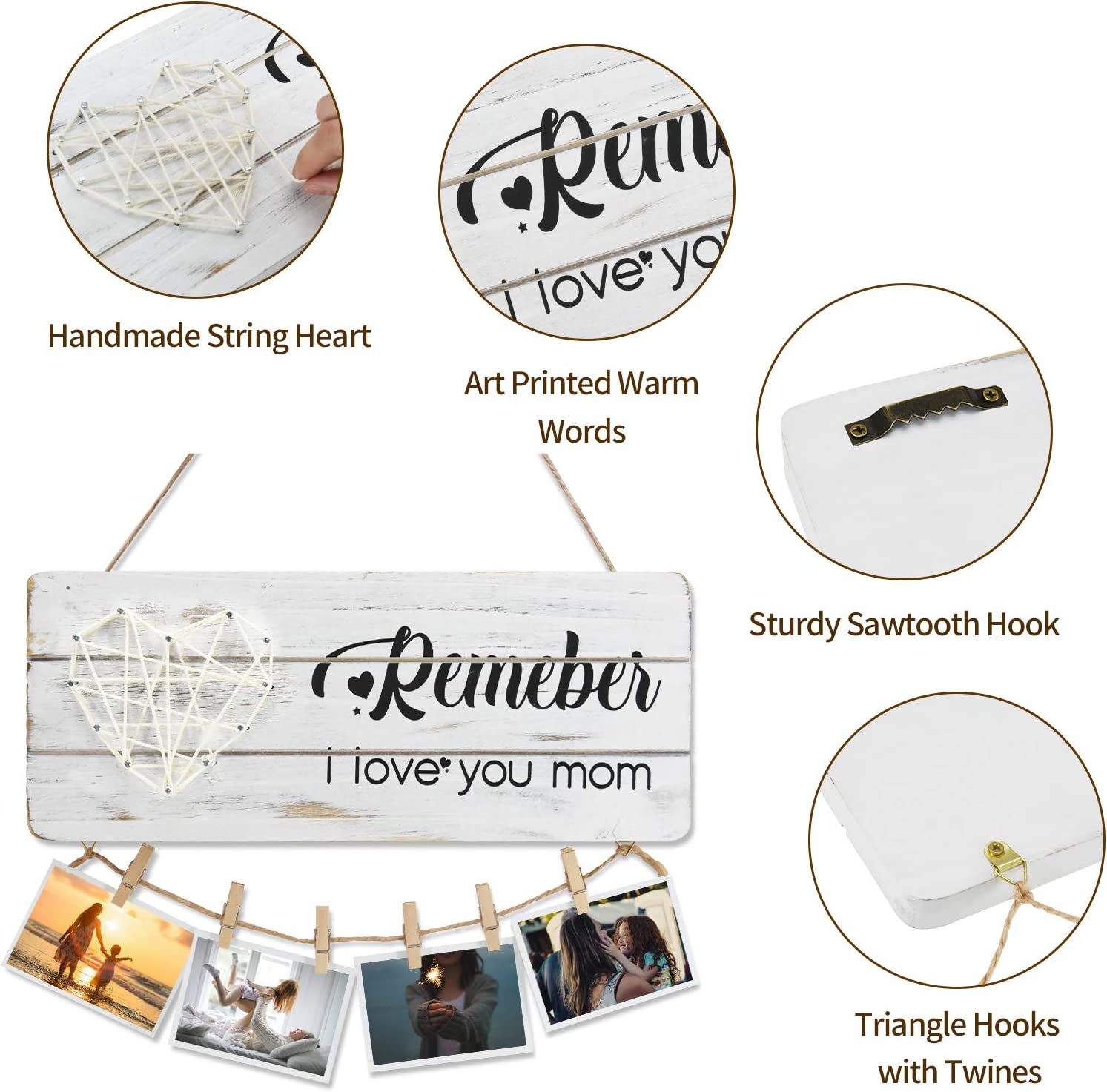 MEMOORIAL Wooden Hanging Photo Display Sign Wooden Signs for Wall Plaques Gifts Photo Holder for Mom from Daughter and Son Mom Gift Hanging Picture Frame with Clips and Twine