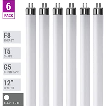 "(Pack Of 6) F8T5/D - T5 Fluorescent 6500K Daylight - 8 Watt - 12"" Super Long Life Light Bulbs"