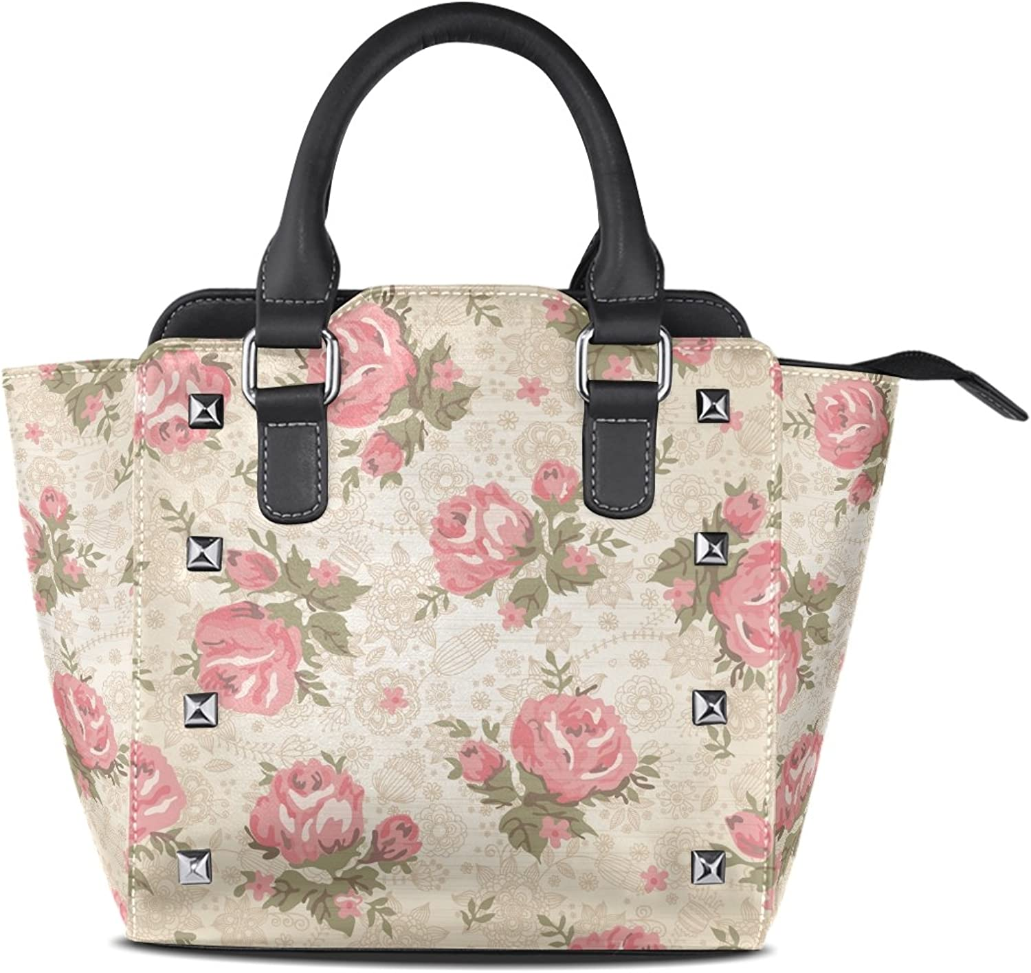 Sunlome Vintage Floral Print Women's Leather Tote Shoulder Bags Handbags