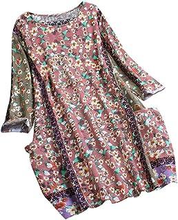 レディース Tシャツ 丸首 パッチワーク ランダム 花柄 長袖 ヴィンテージブラウ ストップ 7分袖 綿麻 大きサイズ おしゃれ 2019 人気