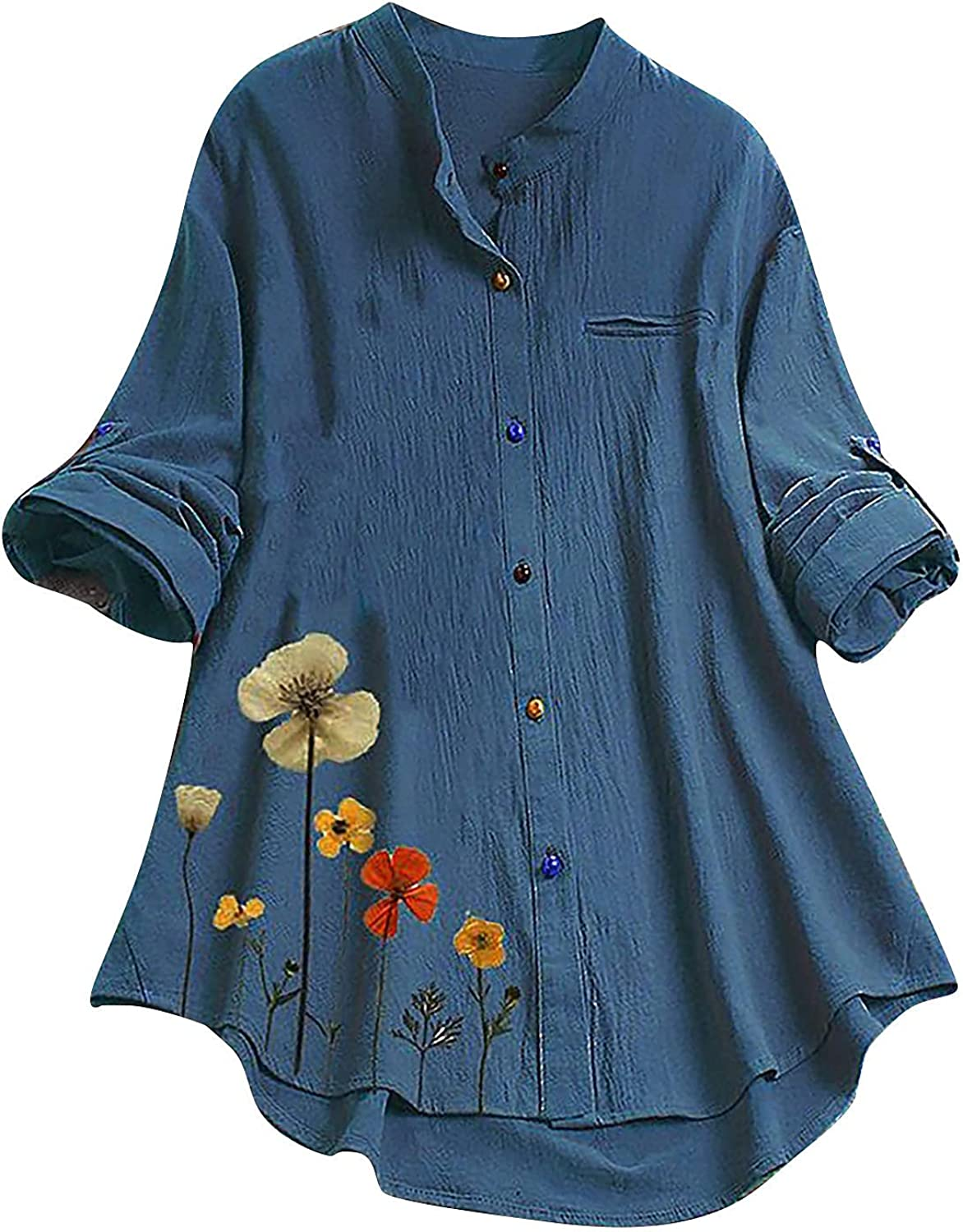 Cotton Linen Shirts for Women New Shipping Free Shipping Crew Casual Sleeve Neck Long Loos Discount mail order