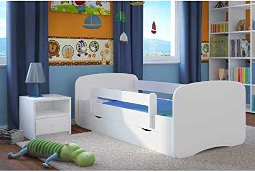 genuina alta calidad Cama infantil 70cm x x x 140cm, con Barriere Hauszapatos de + somier + cajones incluye colchón. Color blanco  conveniente