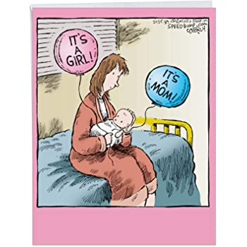 Amazon Com It S A Mom Girl Funny Baby Girl Greeting Card With Envelope Big 8 5 X 11 Inch Newborn Child Cartoon Congratulations Card For Mothers Daughter Sister Cute Baby