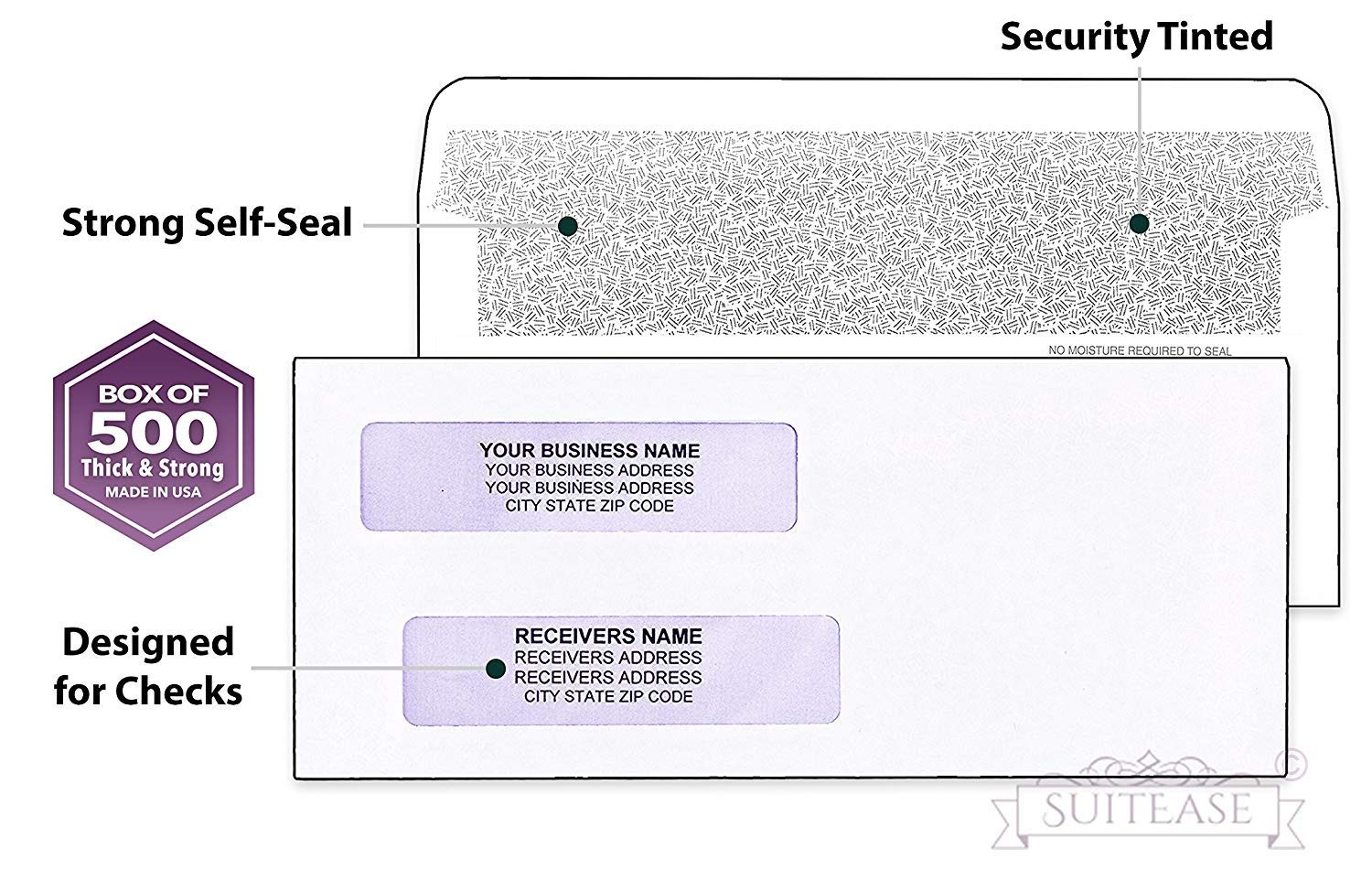 500 #8 Flip and Seal Security Check Envelopes, Double Window For Addresses, Inner Security, Designed for Quick-Books Printed Checks, Perfect Fit Laser Checks - Number 8 Size 3 5/8 Inch x 8 11/16 Inch