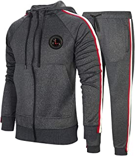 Men's Hooded Athletic Tracksuit Full Zip Casual Jogging Gym Sweat Suits