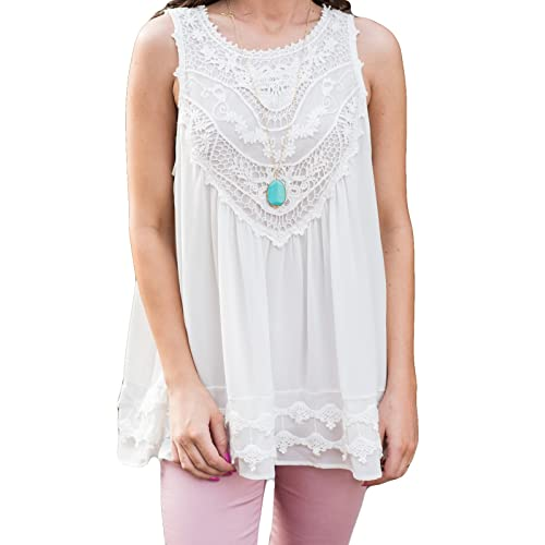 0a1f9249a1 POGTMM Women's Summer Casual Sleeveless Lace Tops Lace Trim Tunic Tops  Chiffon Blouses