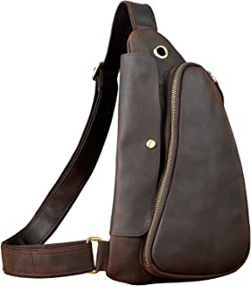 Le'aokuu Mens Fashion Casual Sling Bag Designer Travel Cycling Hiking Crossbody Chest Bag Rig One Shoulder Bag Daypack For Men Leather (1-9976 dark brown 2)