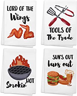 Vansolinne BBQ Funny Kitchen Towels, Grilling Tea Towel Accessories Smokin' Hot Gift for Dad Housewarming BBQ Lovers Gift ...
