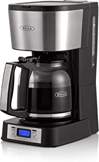 BELLA (14755) 12 Coffee Maker with Brew Strength Selector & Single Cup Feature, Stainless Steel