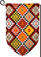 Fimaliy Native American Indian Seamless Vector Image Polyester Garden Flag House Banner 12.5 X 18 Inch, Two Sided Welcome Yard Decoration Flag for Wedding Party Home Decor