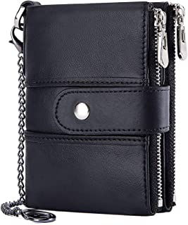HARPIMER Leather Mens Wallet RFID Blocking Soft Genuine Gents Wallet with Chain, Coin Pocket Small Mens Bifold Wallets 16 ...
