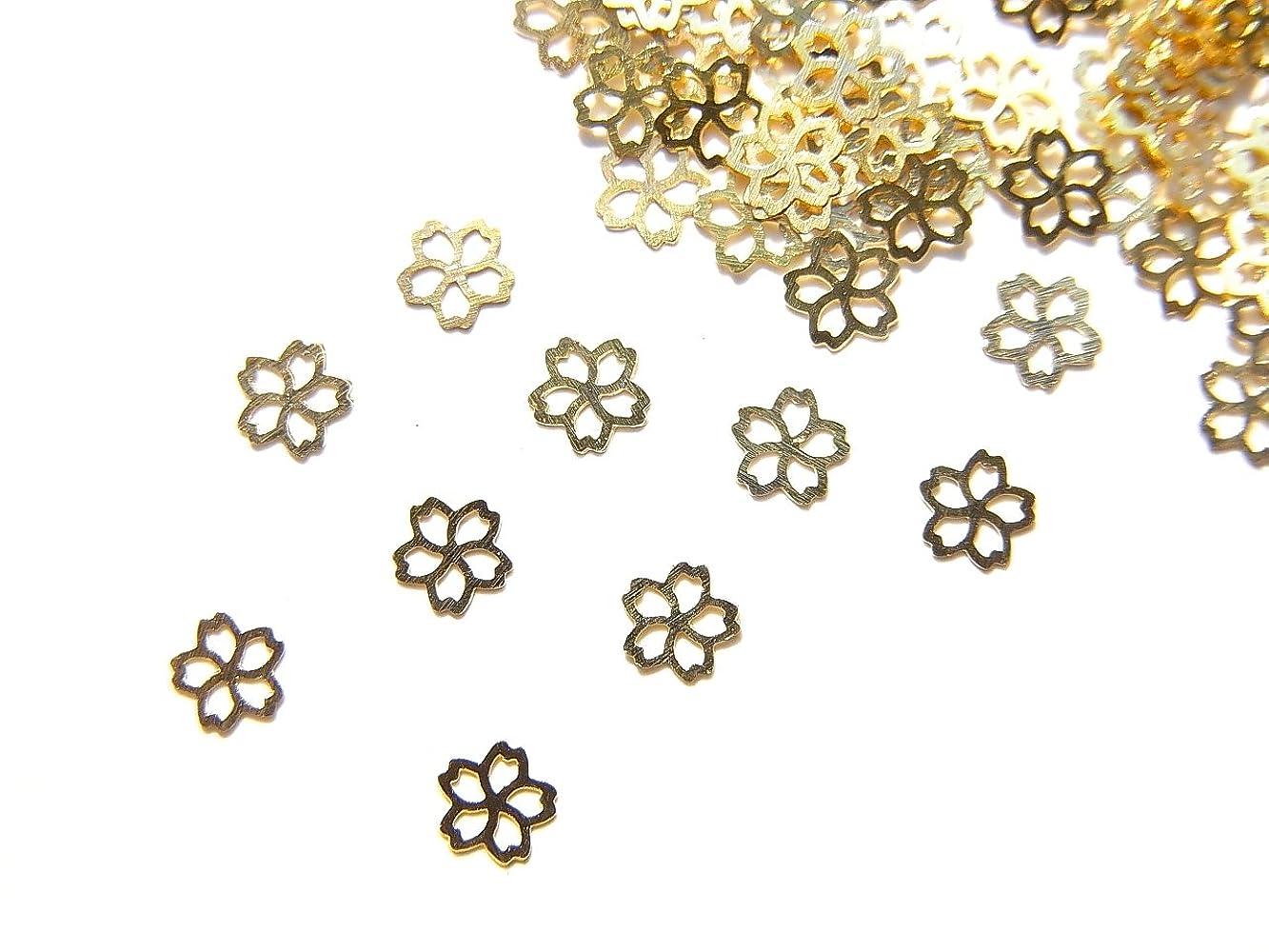 はい特権的尊敬【jewel】ug27 春ネイル 薄型ゴールド メタルパーツ Sサイズ 桜 サクラB 10個入り ネイルアートパーツ レジンパーツ