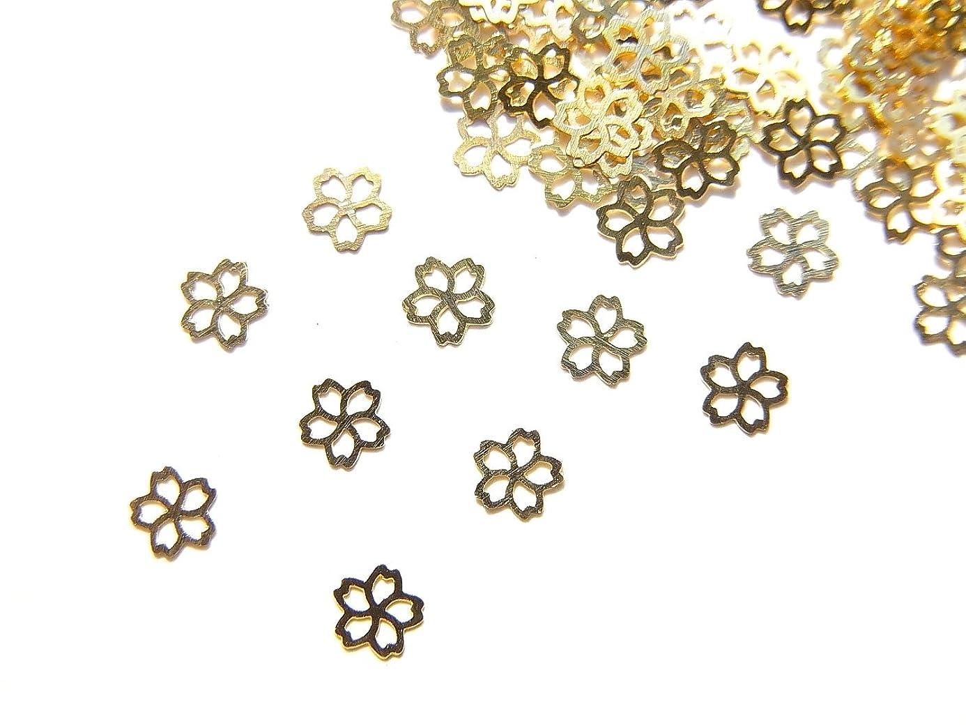 ボード使役異邦人【jewel】ug27 春ネイル 薄型ゴールド メタルパーツ Sサイズ 桜 サクラB 10個入り ネイルアートパーツ レジンパーツ