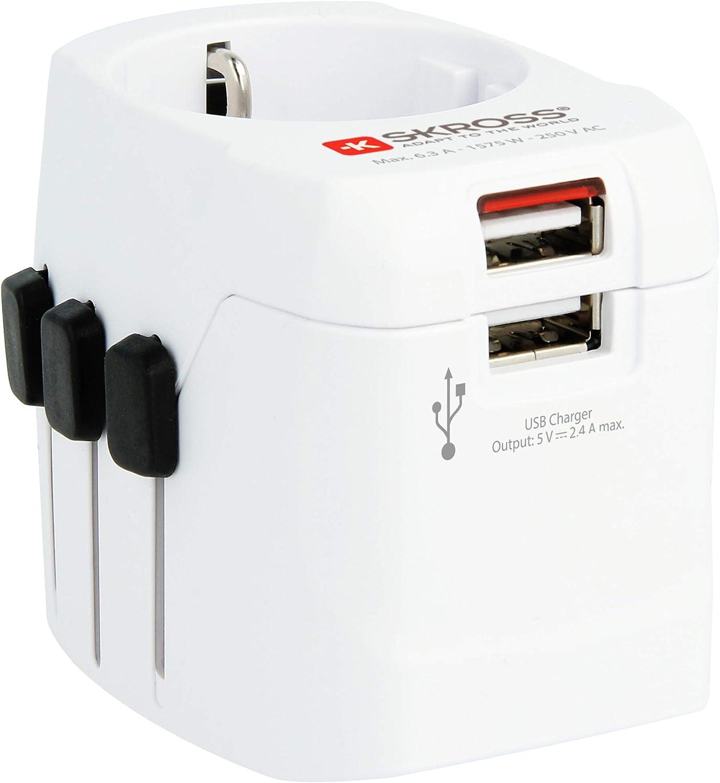 Skross Pro Light - Adaptador de Viaje con 3 Polos, Blanco
