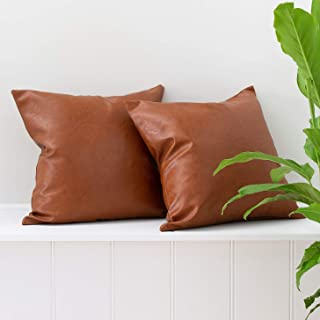 Inspired Ivory Set of 2 Faux Leather Pillowcase Throw Pillow Covers - Modern Brown Faux Leather Decorative Throw Pillows Cases Only for Couch Bed Home Decor | 18x18 Pillow Covers 2 Pack Tullula Set