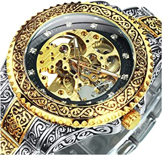 Men's Watch Carving Golden Automatic Mechanical Watch for...