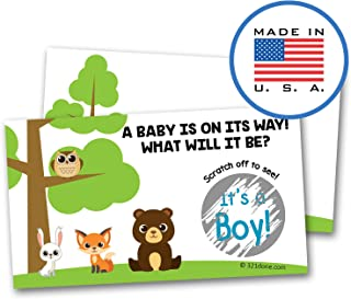 321Done Gender Reveal Scratch Off Cards for Baby Announcement - Forest Animals Tree Owl Bear Fox Rabbit Baby Shower, 2
