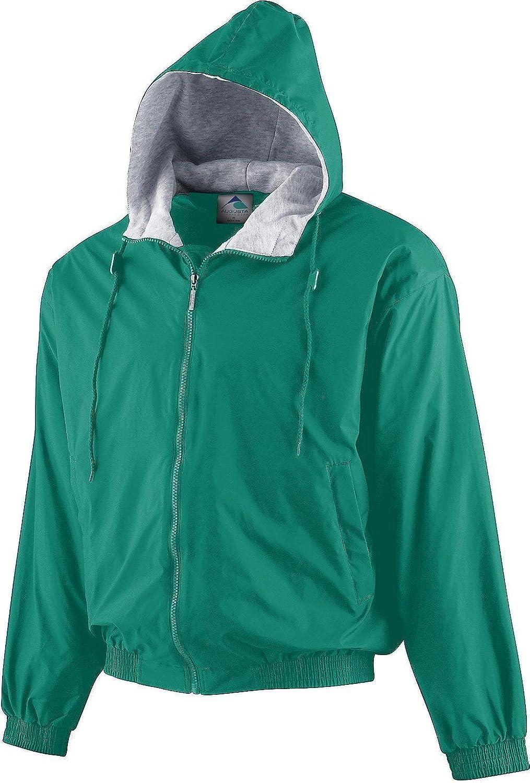 BOYS' HOODED TAFFETA JACKET FLEECE LINED Augusta Sportswear M Dark Green