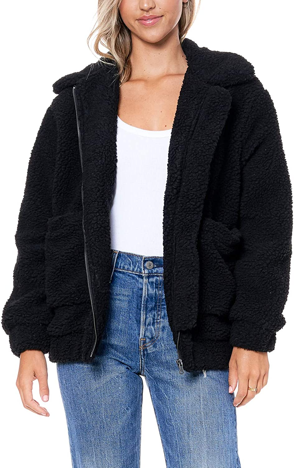Directly managed store ELODIE Women's Fuzzy Faux Bear Shearling Free shipping on posting reviews Jacket Teddy