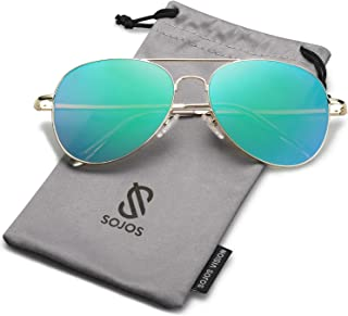 76211e4fdb863 SOJOS Classic Aviator Mirrored Flat Lens Sunglasses Metal Frame with Spring  Hinges SJ1030