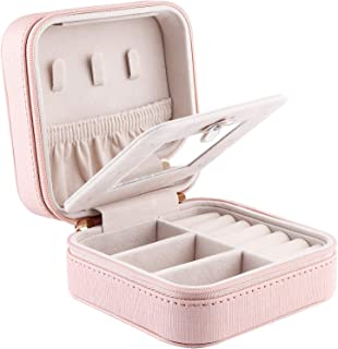 Duomiila Small Travel Jewelry Box, Travel Mini Organizer Portable Display Storage Case for Rings Earrings Necklace, Best Gifts Choice for Girls Women (Pink-2)