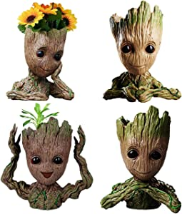 4 Styles Flowerpot Baby Groot Flower Pot Succulent Planter Pot Pencil Holder Office Party Ornament Christmas Birthday Gift (4 Styles)