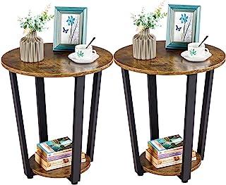 Yaheetech 2 Tables de Chevet Rond en Bois Tables de Nuit Marron à 2 Plateaux de Rangement Armature en Métal Tables d'Appoi...
