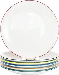 Lot de 6 assiettes plates en porcelaine véritable Ø 240 mm Assiettes avec bord coloré en 6 couleurs rafraîchissantes (6 co...