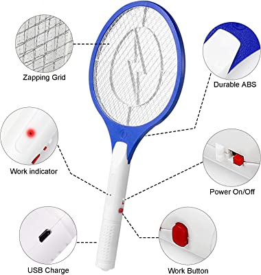 Bug Zapper, 3500Volt Electric Fly Swatter Rechargeable Bug Zapper Racket with Safe to Touch Mesh Net Best for Indoor and Outdoor Pest Control- with USB Charger