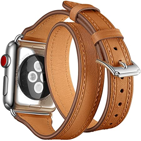 Maxjoy Compatible with Apple Watch Band, 38mm 40mm 41mm Watch Bands Soft Leather Strap Replacement Wristband with Metal Clasp Compatible with Apple iWatch SE Series 7 6 5 4 3 2 1 Sport Edition, Brown