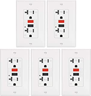 5 Pack - ELECTECK 20A WR GFCI Outlet, TR GFI Receptacle with LED Indicator, Weather and Tamper Resistant, Decorator Wall Plate Included, Residential and Commercial, ETL Certified, White