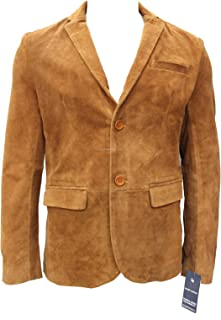 Men's Signature Tan Suede Real Genuine Leather Designer Fitted Smart Casual 2 Button Blazer Jacket Blouson